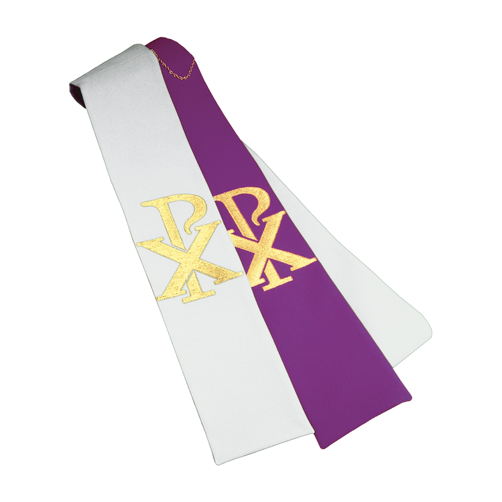 reversible chi rho embroidery stole - purple/white