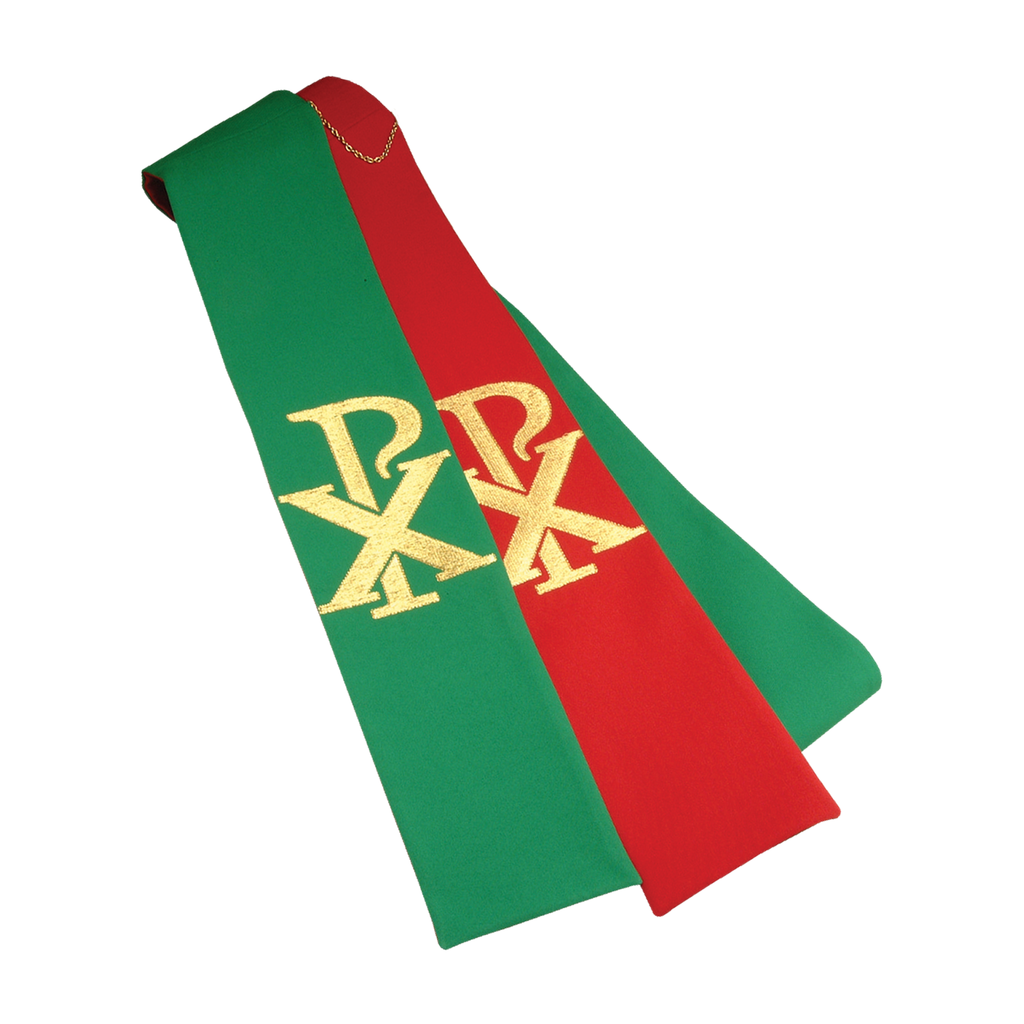 reversible chi rho embroidery stole - red/green
