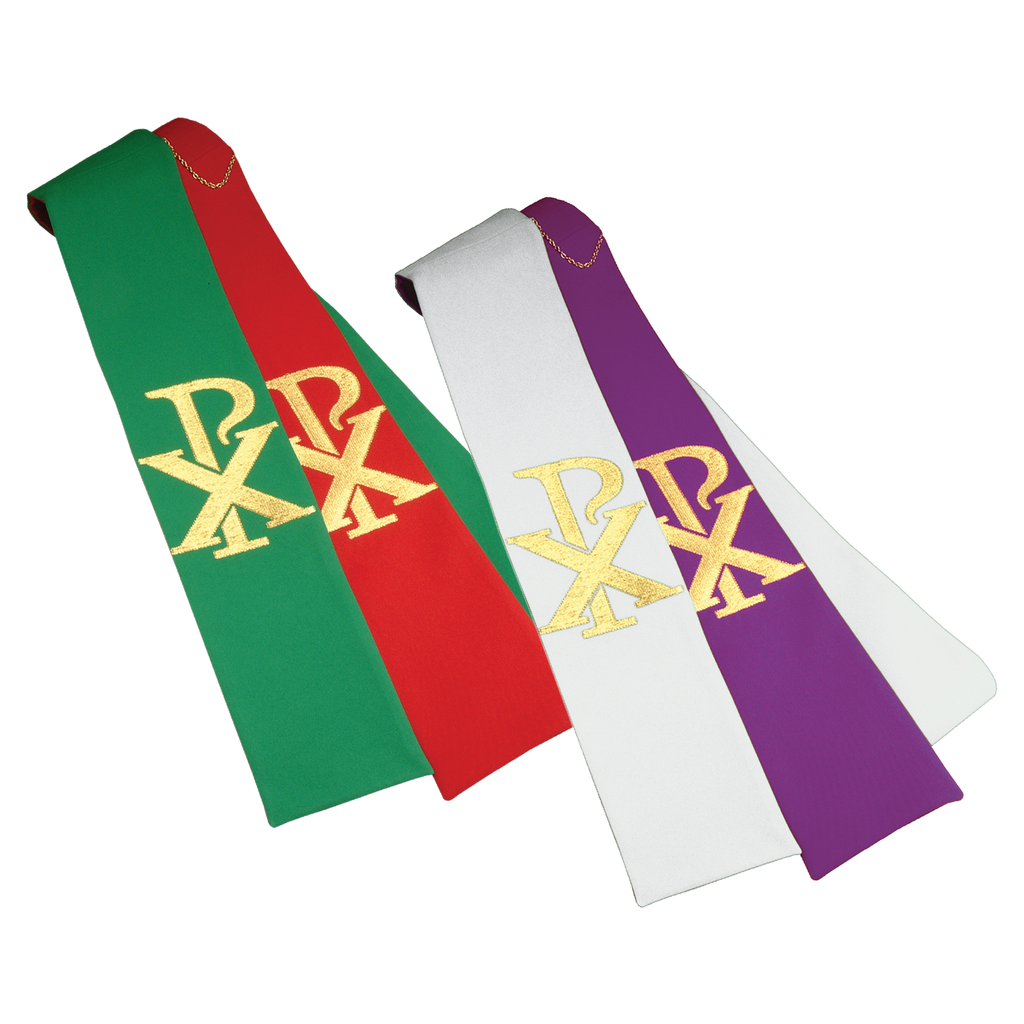 reversible chi rho embroidery stole - red/green and purple/white