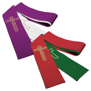 reversible easter embroidery stole - purple/white and red/green