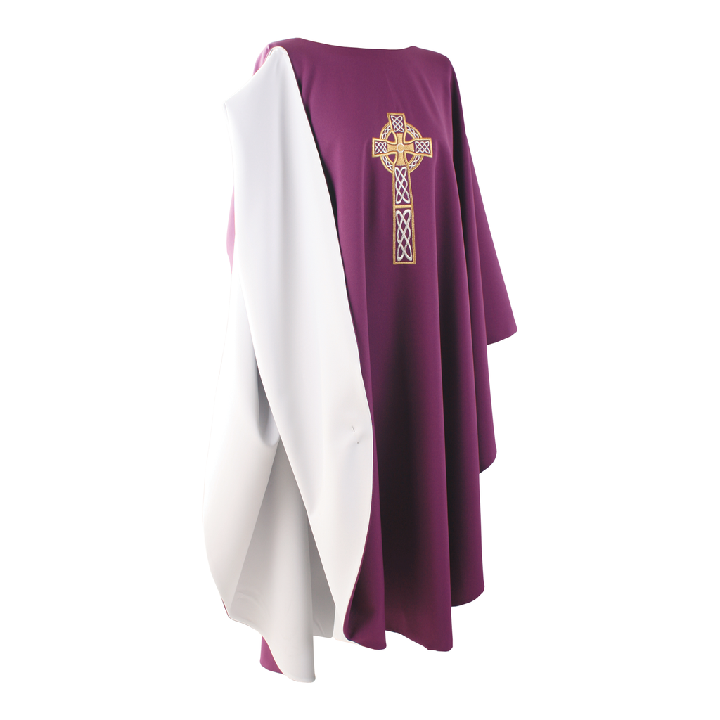 reversible full gothic celtic cross embroidery chasuble - purple/white