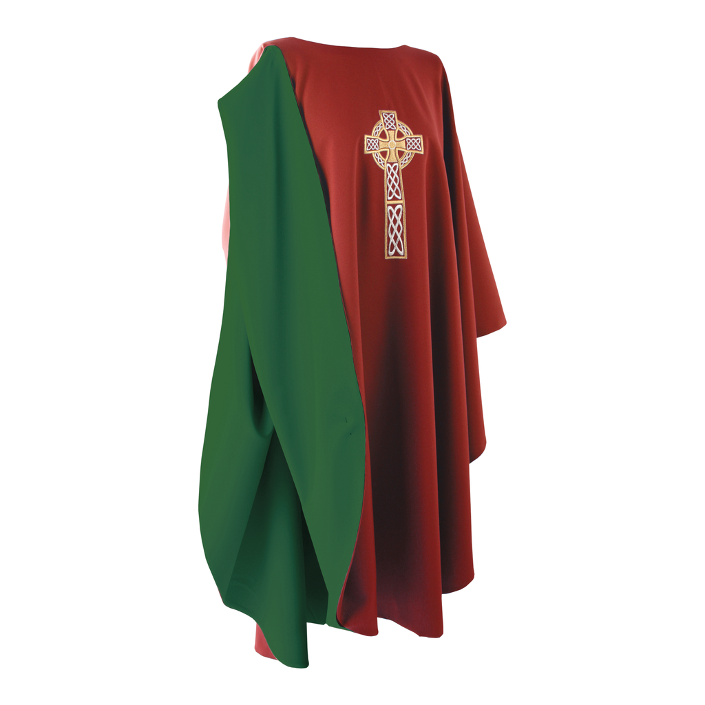 reversible full gothic celtic cross embroidery chasuble - red/green