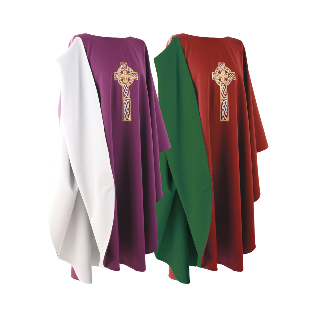 reversible full gothic celtic cross embroidery chasuble - purple/white and red/green