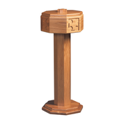 routed cross oak octagonal top standing baptismal font with steel bowl