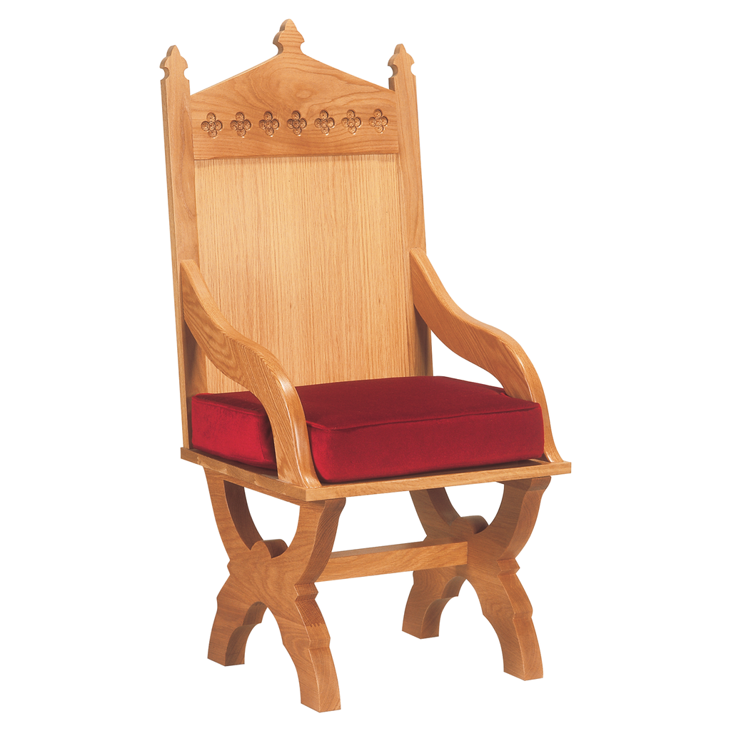 routed design back oak presidential chair with cushion