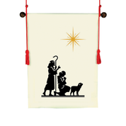 shepherd and star christmas design hanging banner