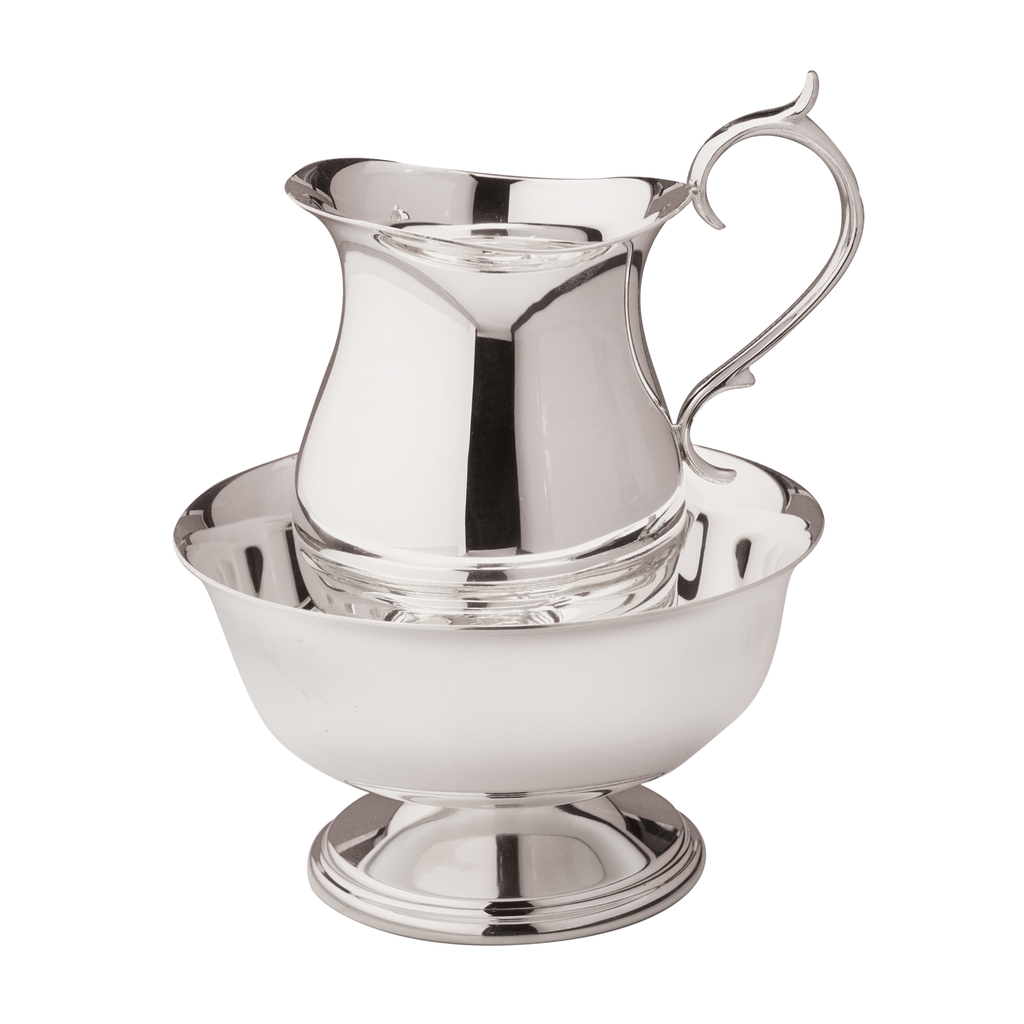 silver plate cruet water jug with matching lavabo bowl