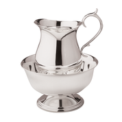 silver plate lavabo bowl with matching cruet water jug