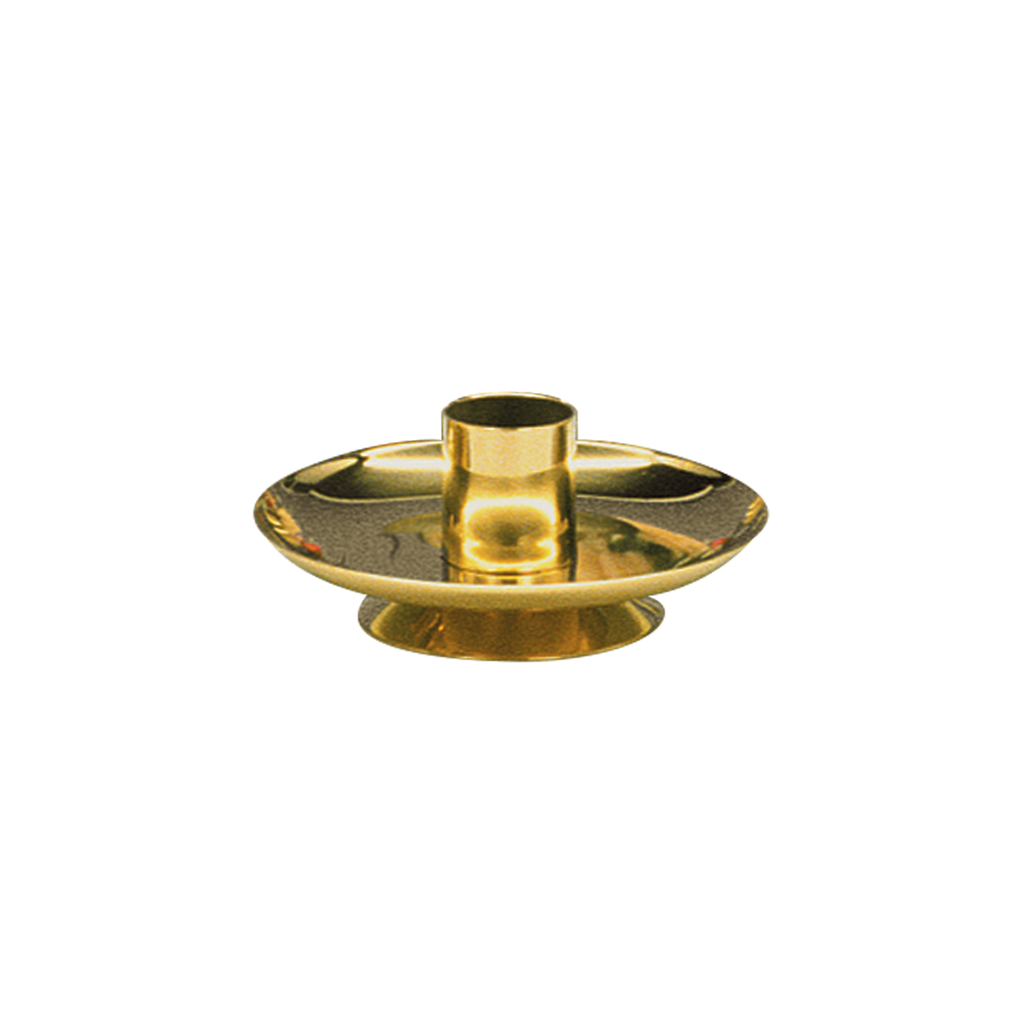 simple polished brass short candlestick