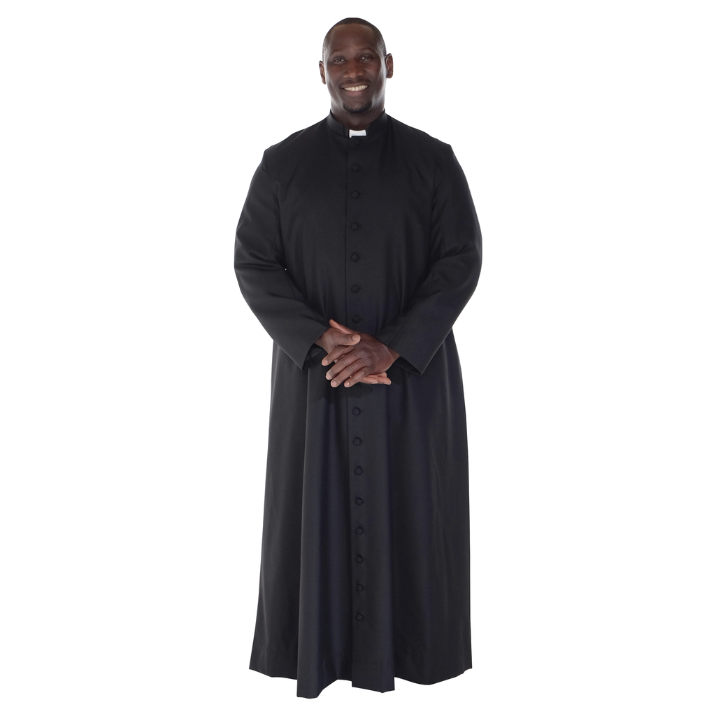 single breasted half lined cassock - polyester and wool