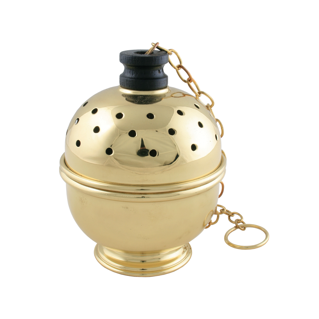 single chain polished brass thurible