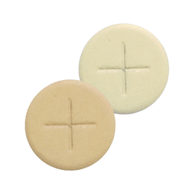 single cross sealed edge altar breads - white and wholemeal