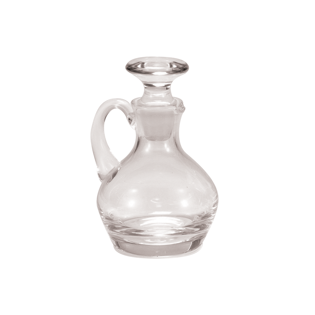 small standing crystal glass cruet with stopper