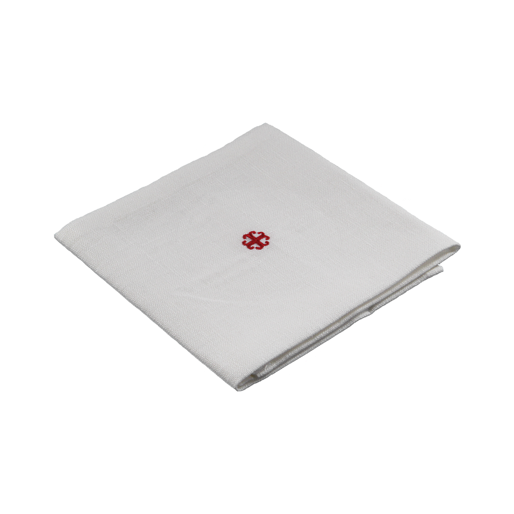 special linen corporal - red embroidered cross