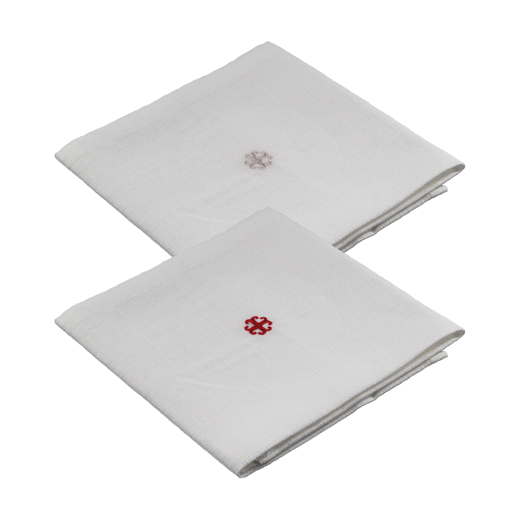 special linen corporal - red and white embroidered cross