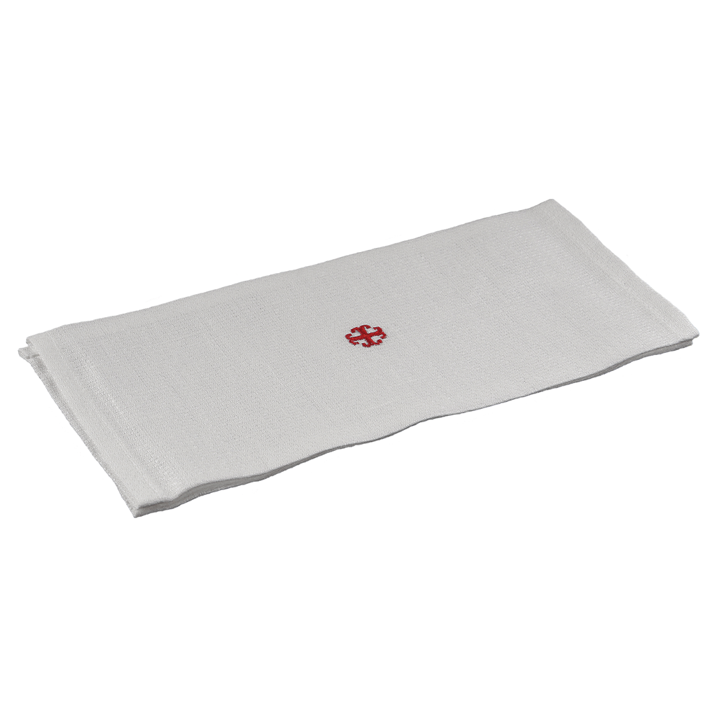 special linen lavabo towel - red embroidered cross