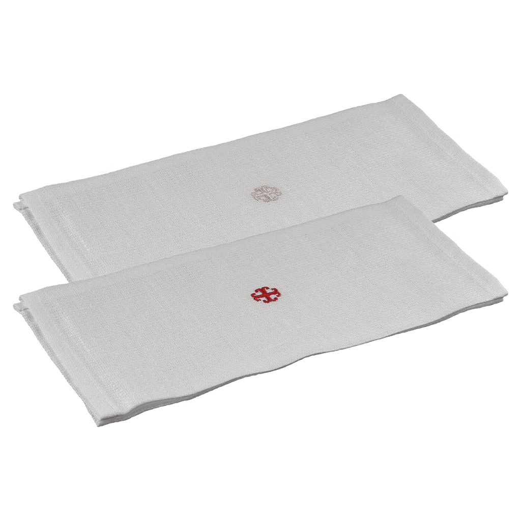 special linen lavabo towel - red and white embroidered cross