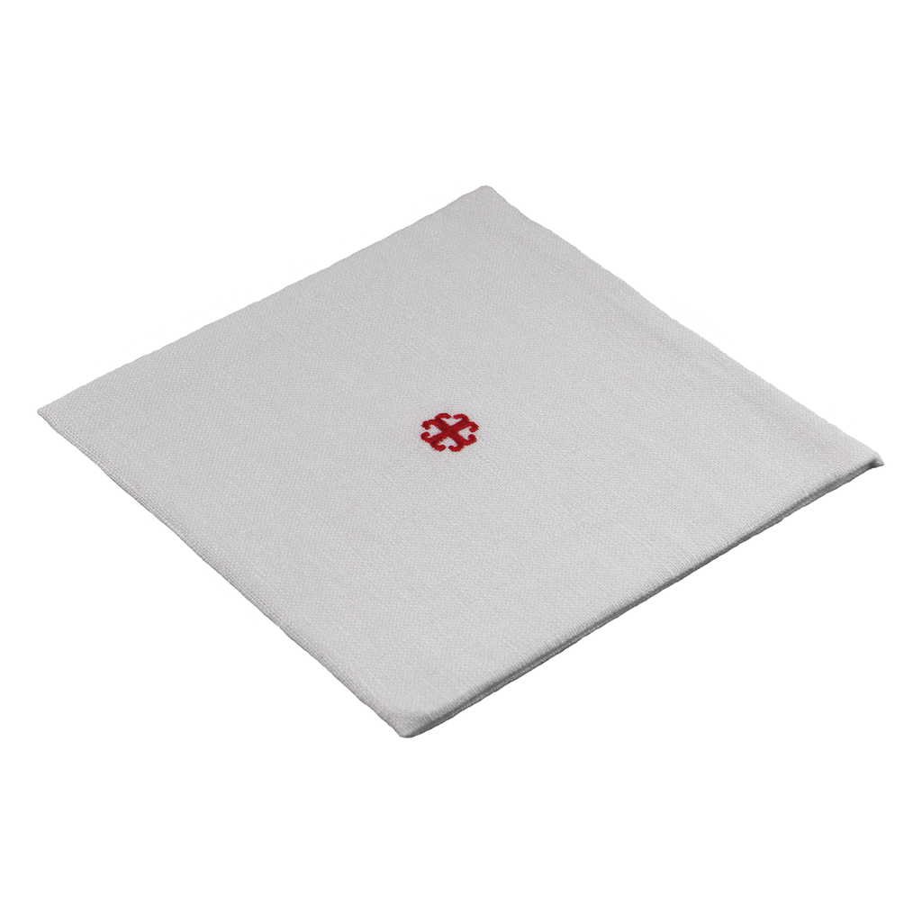 special linen pall - red embroidered cross