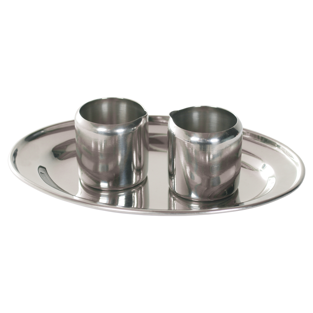 stainless steel cruets and tray - 2 cruets and tray set