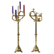 standing advent wreath - top and candlestick - barley twist stem and plain straight stem