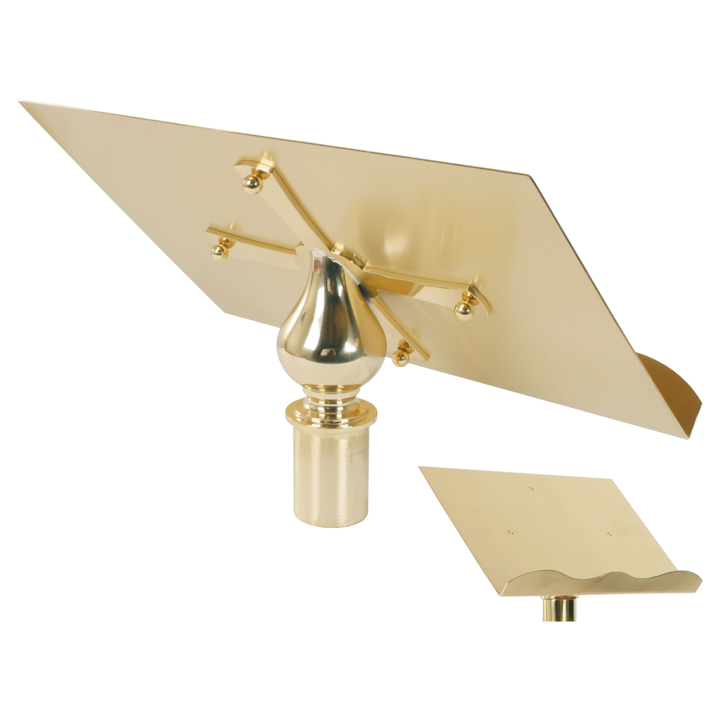 standing brass lectern top - back and front view