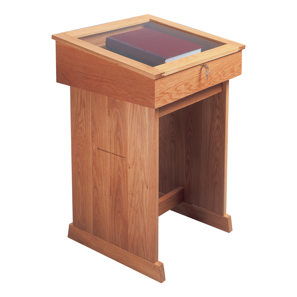 standing oak memorial bookcase with lockable lid holding book