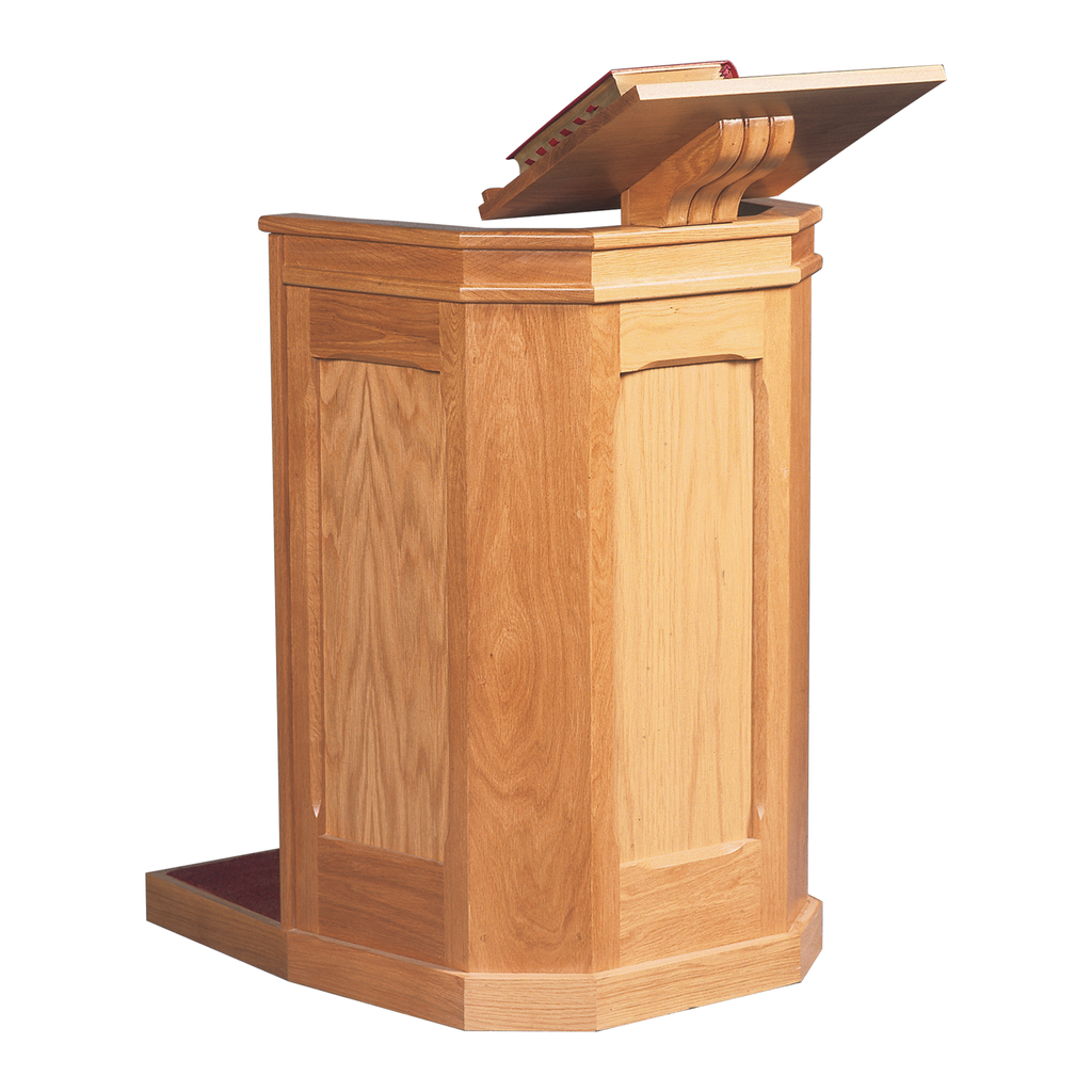 standing oak plinth pulpit with book rest