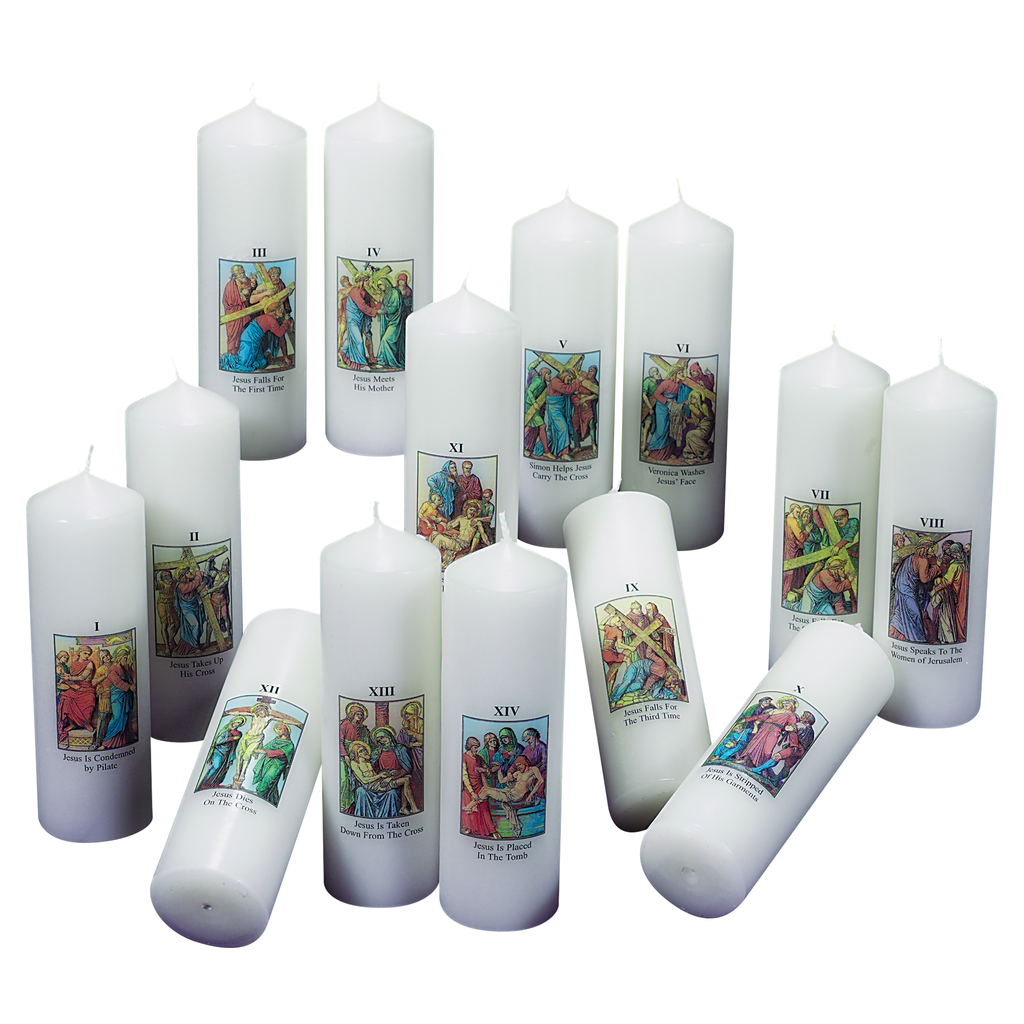 stations of the cross transfer design candle set