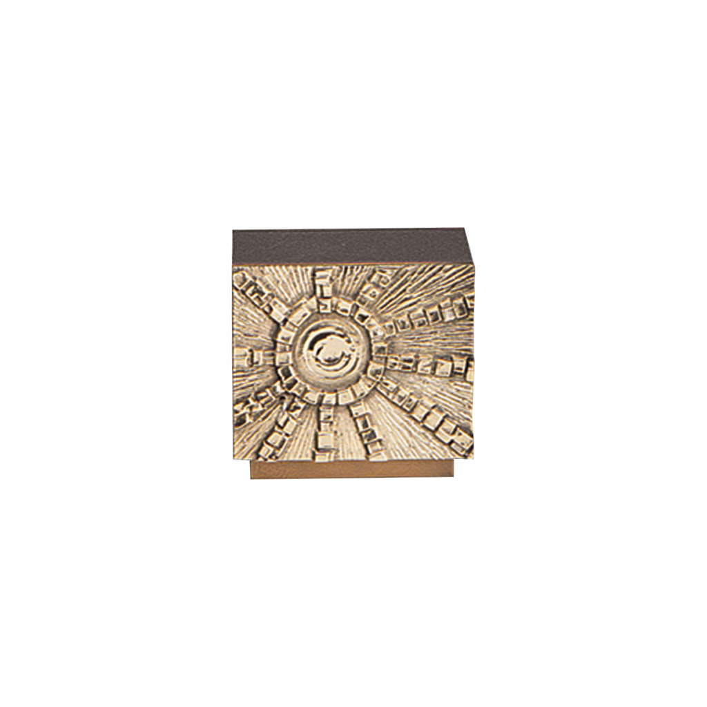 "sunburst relief steel and gold painted tabernacle with hammer finish - 8 1/2"" high"
