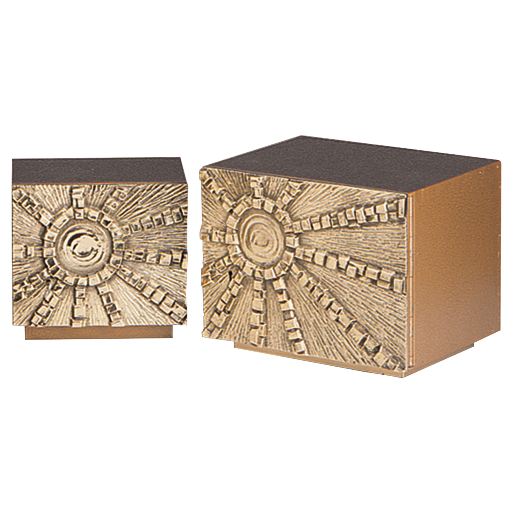 "sunburst relief steel and gold painted tabernacle with hammer finish - 8 1/2"" and 10"" high"