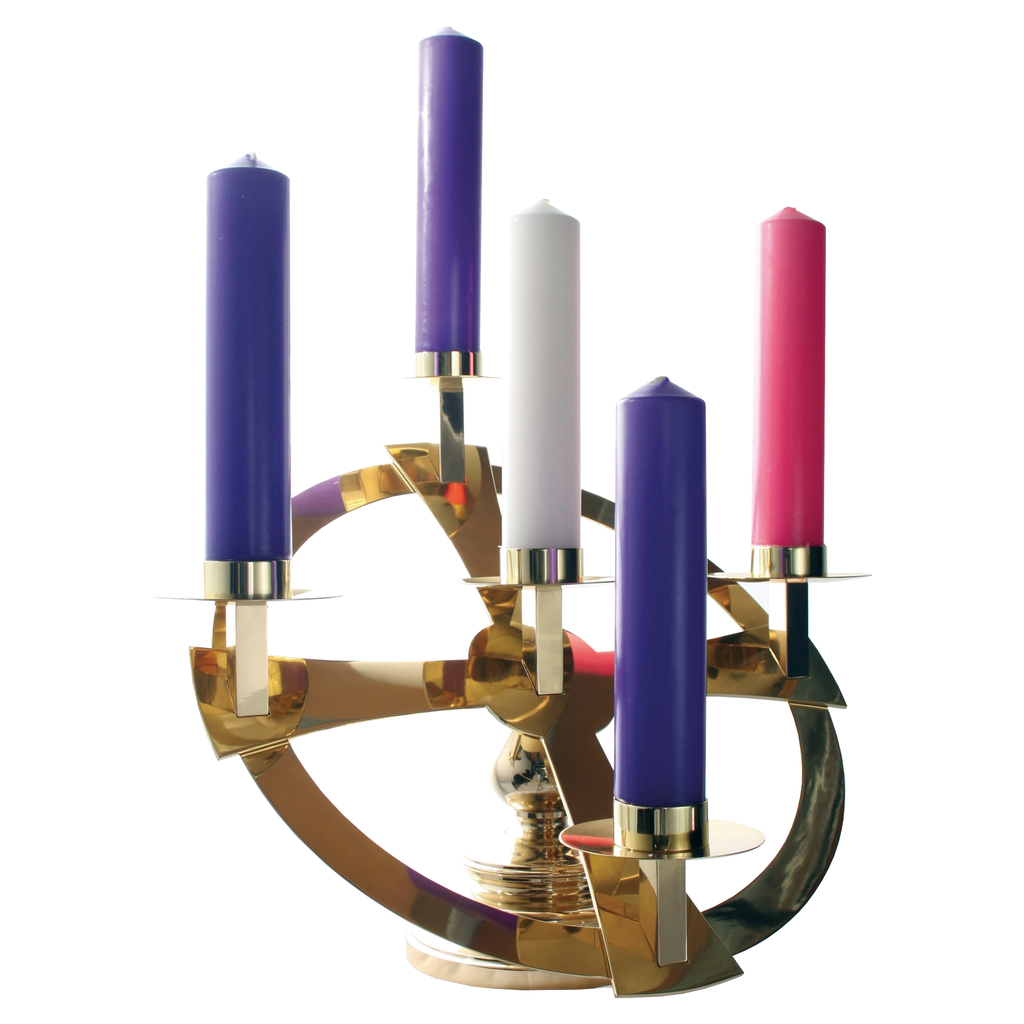 table top brass advent wreath with 5 candle sockets
