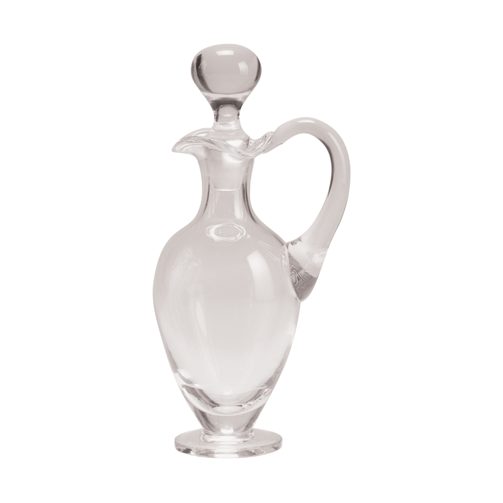 "tapered base glass cruet with handle and stopper - 9"" high"