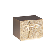 three cross relief steel and gold painted tabernacle with hammer finish