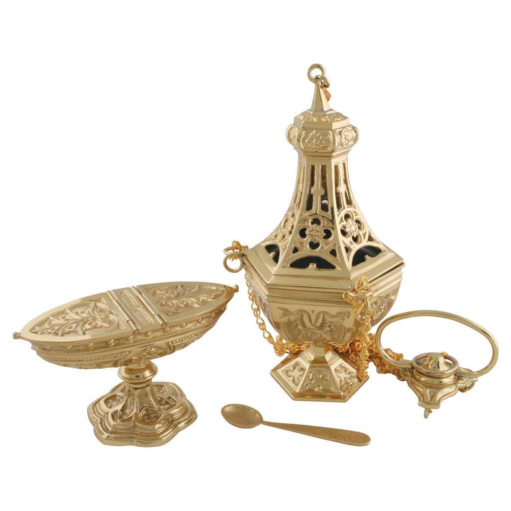 three chain thurible, incense boat and spoon in cast brass gothic style