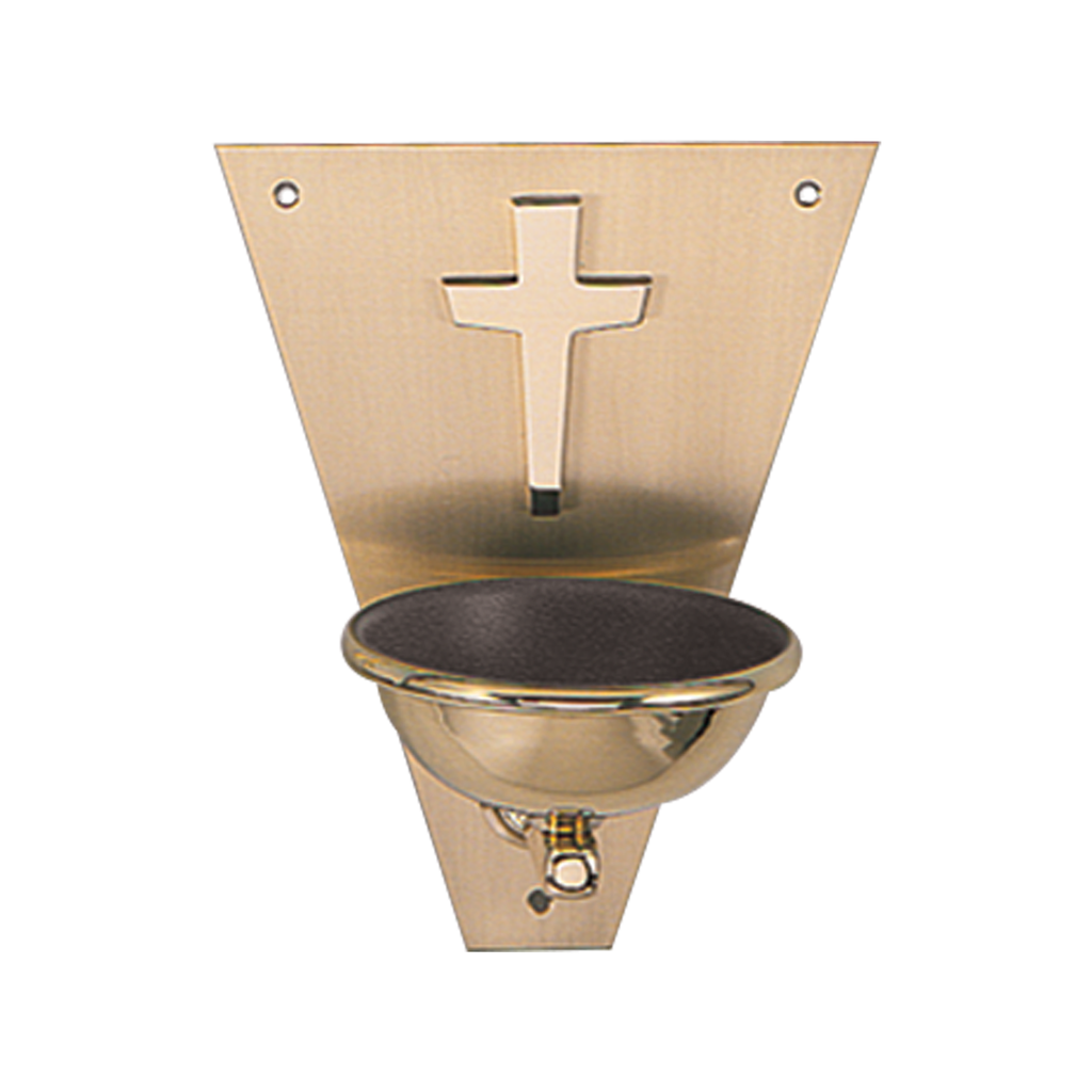 triangular satin brass holy water stoup with cross detail