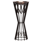 standing wrought iron baptismal font with copper bowl