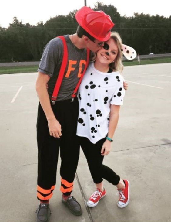 Firefighter and Dalmatian Halloween Costume