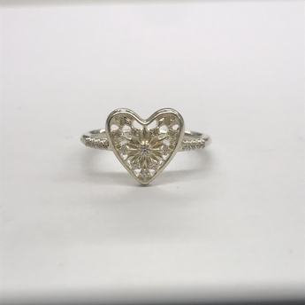 Pandora Stone Set Floral Heart Ring