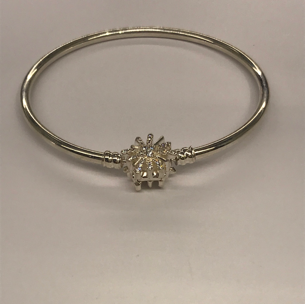 Sterling Silver Pandora Snow Flake Bangle
