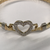 9ct Ladies Single Heart Stone Set Bangle