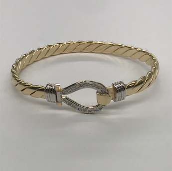 9ct Ladies Stone Set Hook And Loop Bangle