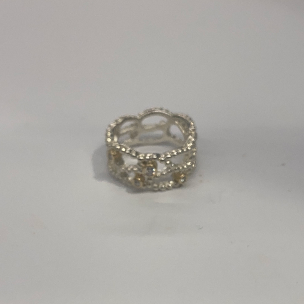 Pandora Gold on Silver CZ Ring