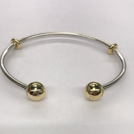 Sterling Silver And Gold Plate Pandora Torque style Bangle