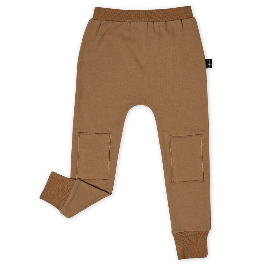 Tan Skinny Knee Patch Trackpants