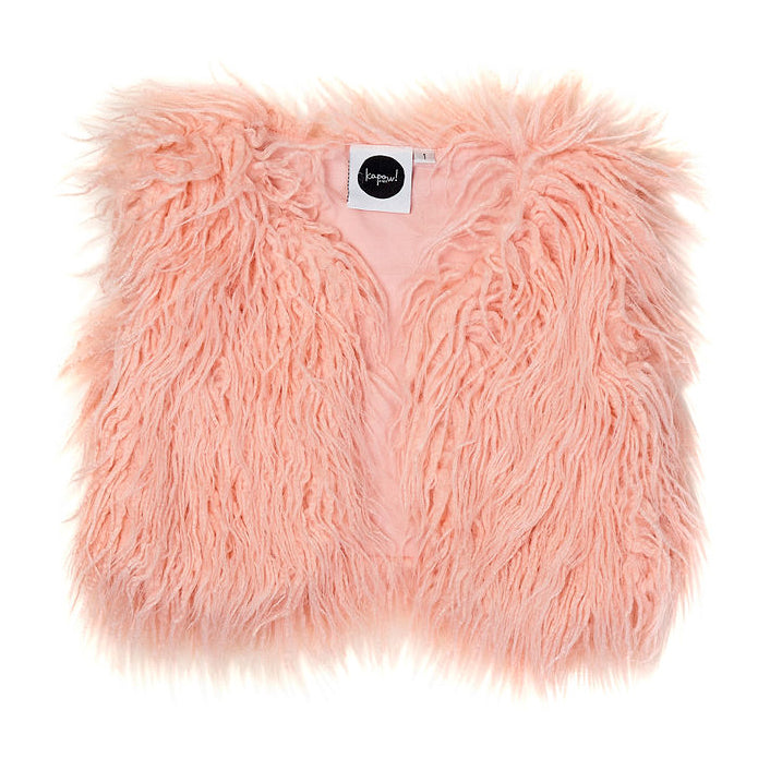 Shaggy Faux Fur Vest Rose