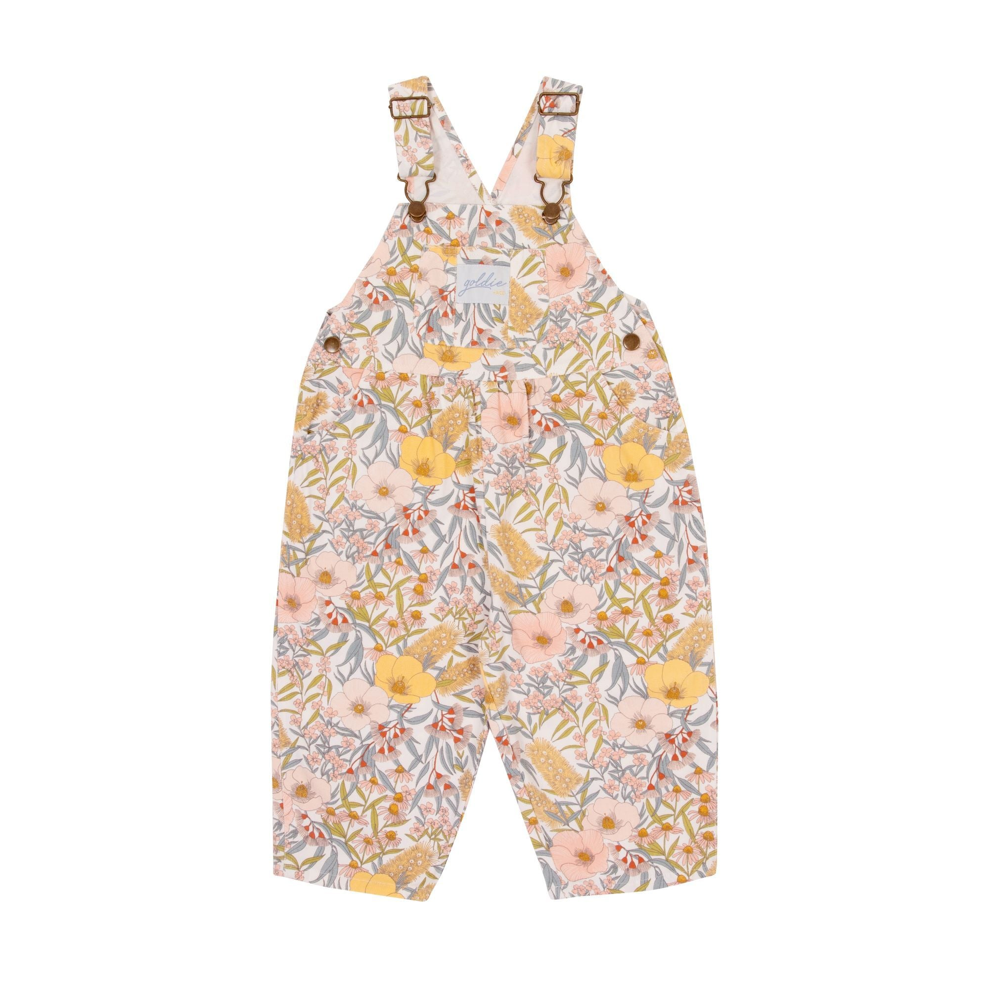 Ace Cotton Denim Overalls Vintage Floral