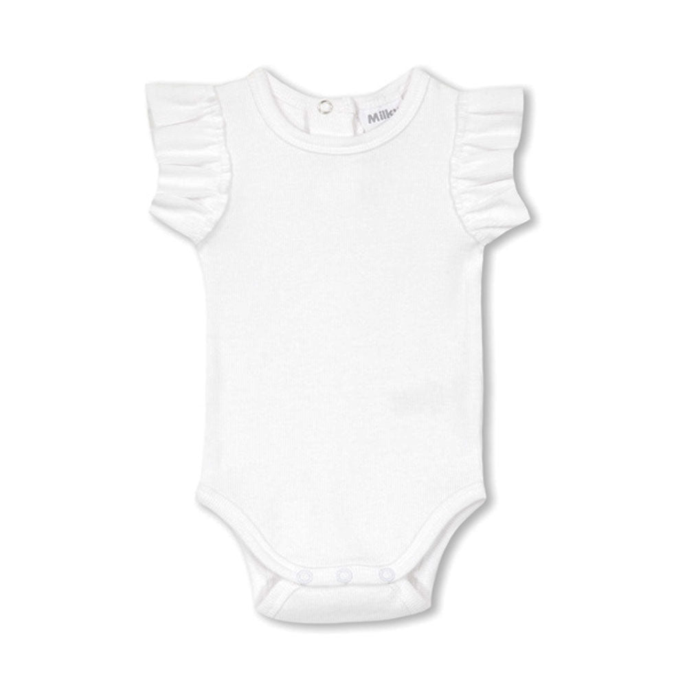 Basic Ribbed Onesie White