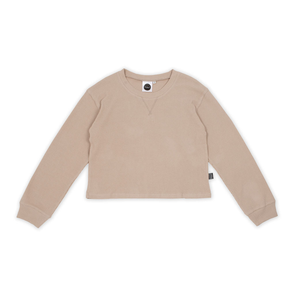 Biscuit Waffle Cropped Womens Sweater
