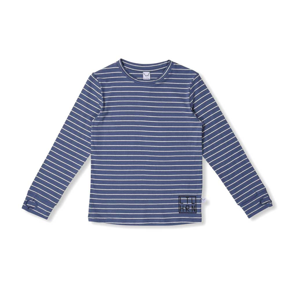Striped Thumbhole Tee Blue