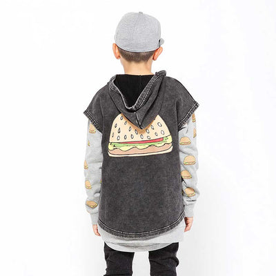Burger Patch Sleeveless hood Vintage Black
